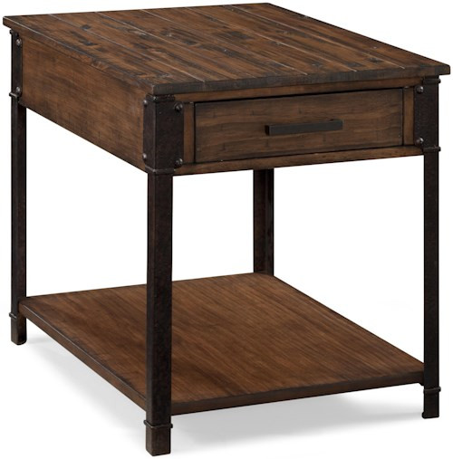 Magnussen Home Larkin Industrial Rectangular End Table with 1 Shelf and 1 Drawer