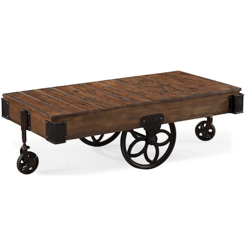 Magnussen Home Larkin Industrial Style Rectangular Cocktail Table with Casters