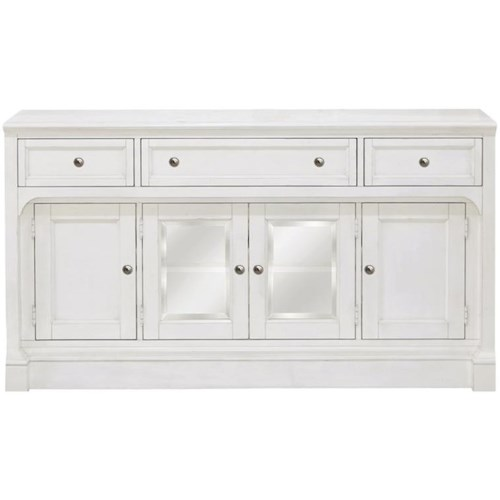 Magnussen Home Laurel Garden Soft White TV Console with Glass Doors