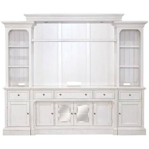 Magnussen Home Laurel Garden White Entertainment Wall Unit with LED Lights