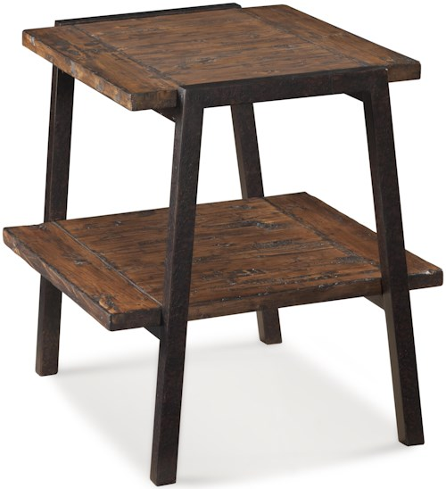 Magnussen Home Lawton Rectangular End Table with Metal Legs Supports and 1 Shelf