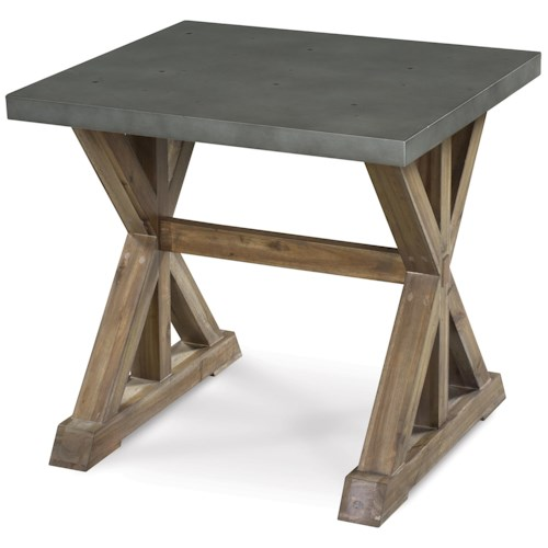 Magnussen Home Lybrook Rectangular End Table with Stone Top and Wooden Trestle Base