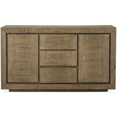 Magnussen Home Granada Hills Contemporary Rustic Buffet with Silverware Tray