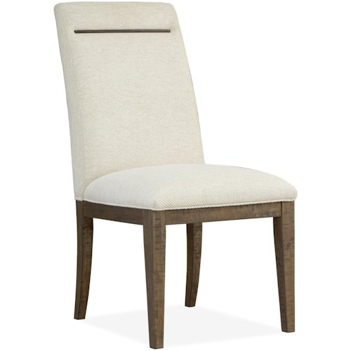 Magnussen Home Granada Hills Contemporary Rustic Fully Upholstered Dining Side Chair