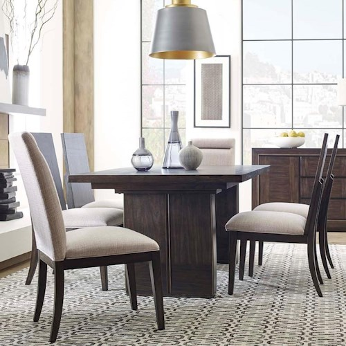 Magnussen Home MacArthur Terrace  Contemporary Rustic 7 Piece Dining Set with Center Leaf