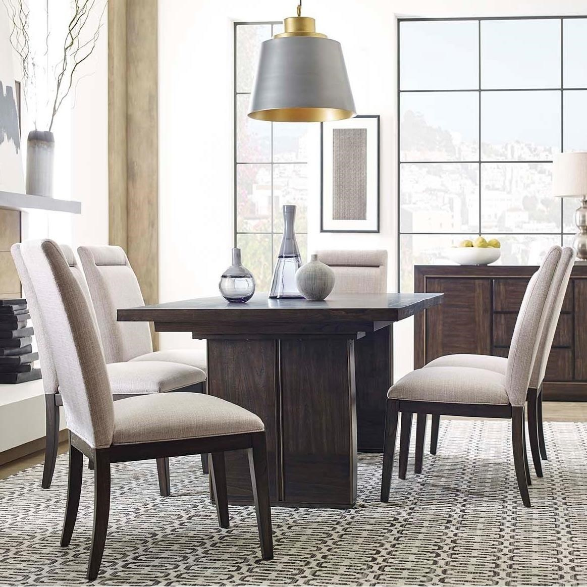 MacArthur Terrace Contemporary Rustic 7 Piece Dining Set With Center Leaf  By Magnussen Home
