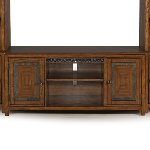 Magnussen Home Madison TV Console with Rustic Tonal Slate Accents and Weathered Bronze Apron