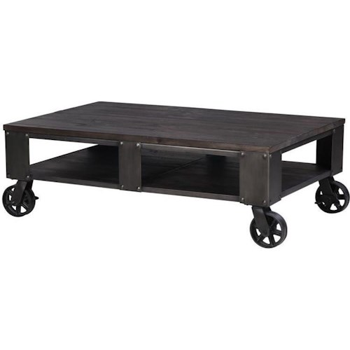Magnussen Home Milford Rectangular Cocktail Table with Casters
