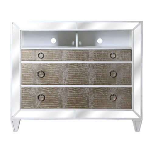 Magnussen Home Monroe Contemporary Old Hollywood Media Chest with Croc Upholstery and Antiqued Mirror