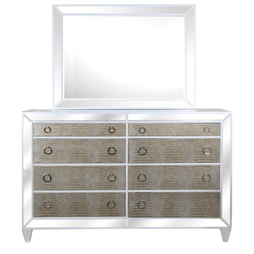 Magnussen Home Monroe Contemporary Old Hollywood Dresser and Mirror with Croc Upholstery and Antiqued Mirror