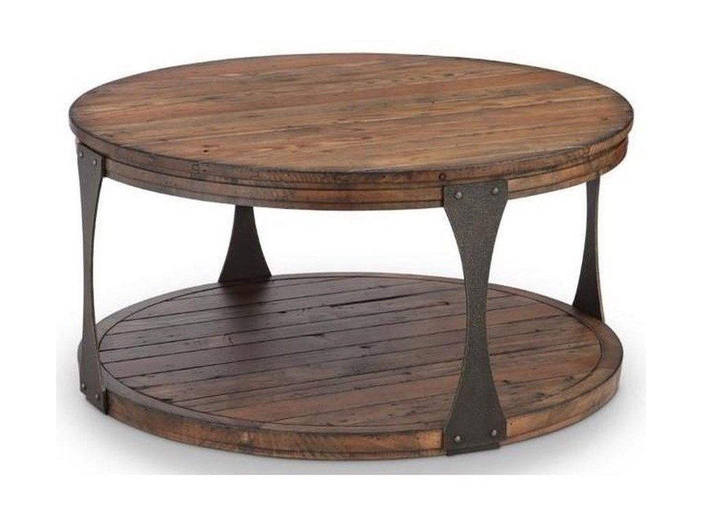 Montgomery Rustic Round Tail Table With Casters By Magnussen Home