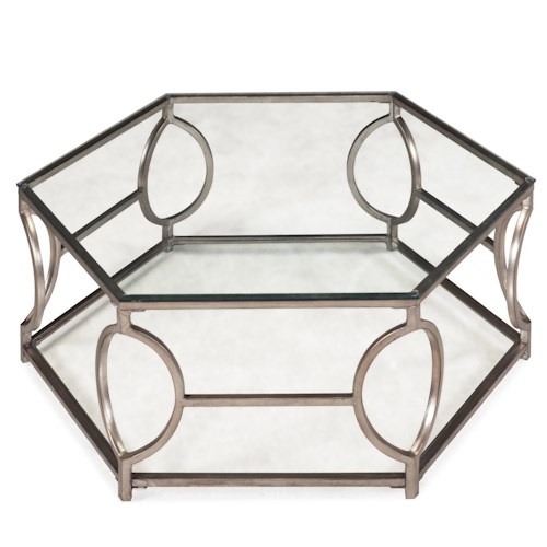 Belfort Select Nevelson Hexagonal Cocktail Table with Glass Top and Geometric Detail