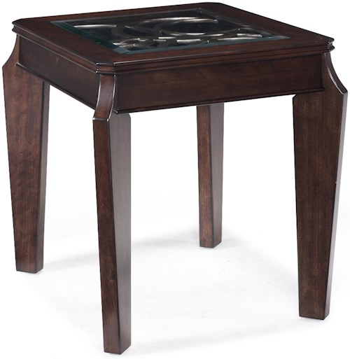 Magnussen Home Ombrio Rectangular End Table with Decorative Glass and Metal Inlay