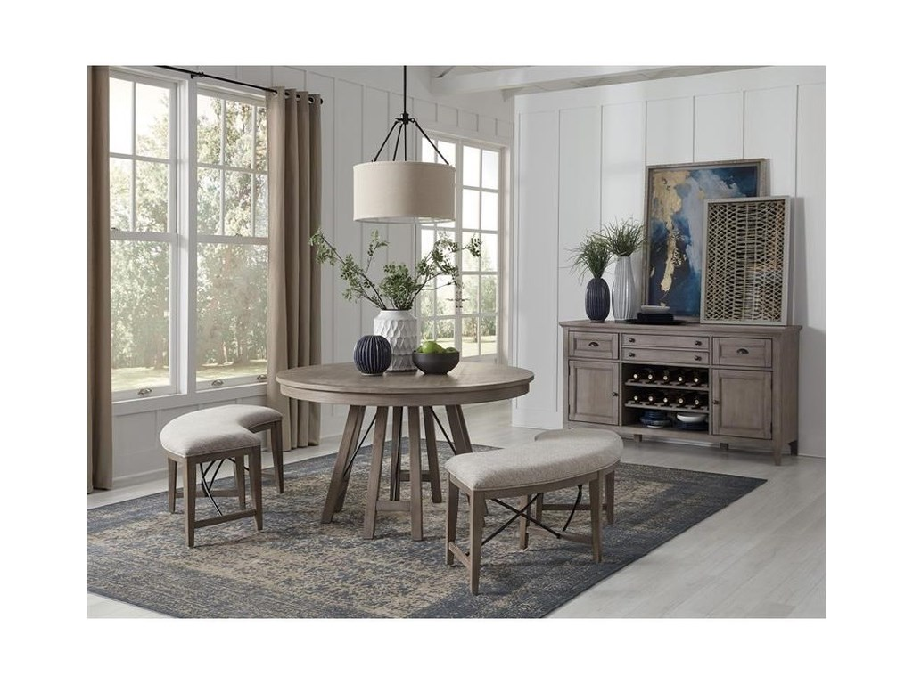 Magnussen Home Paxton Place3-Piece Dining Set with Benches