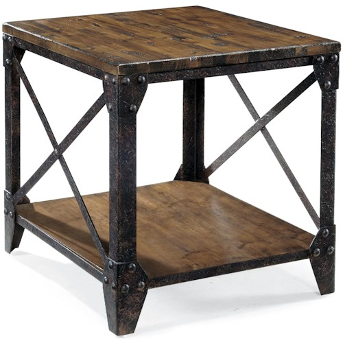 Magnussen Home Pinebrook Rectangular End Table with Rustic Iron Legs