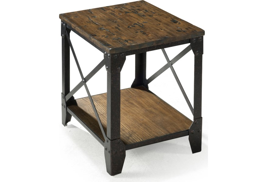 Pinebrook Small Rectangular End Table with Rustic Iron Legs by Magnussen  Home at Dunk & Bright Furniture