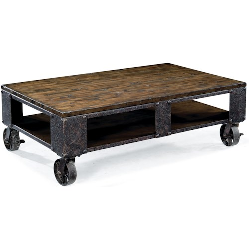 Magnussen Home Pinebrook Rectangular Cocktail Table with Wheel Feet
