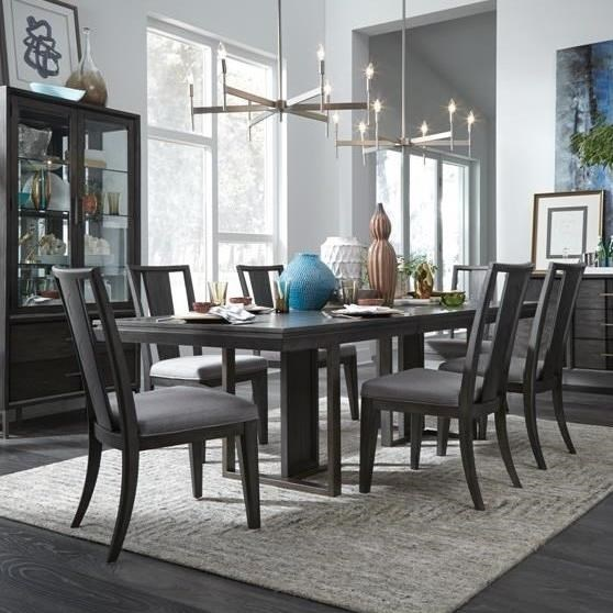Magnussen Home Proximity Heights Dining Modern Rectangular Table And Six  Chair Set