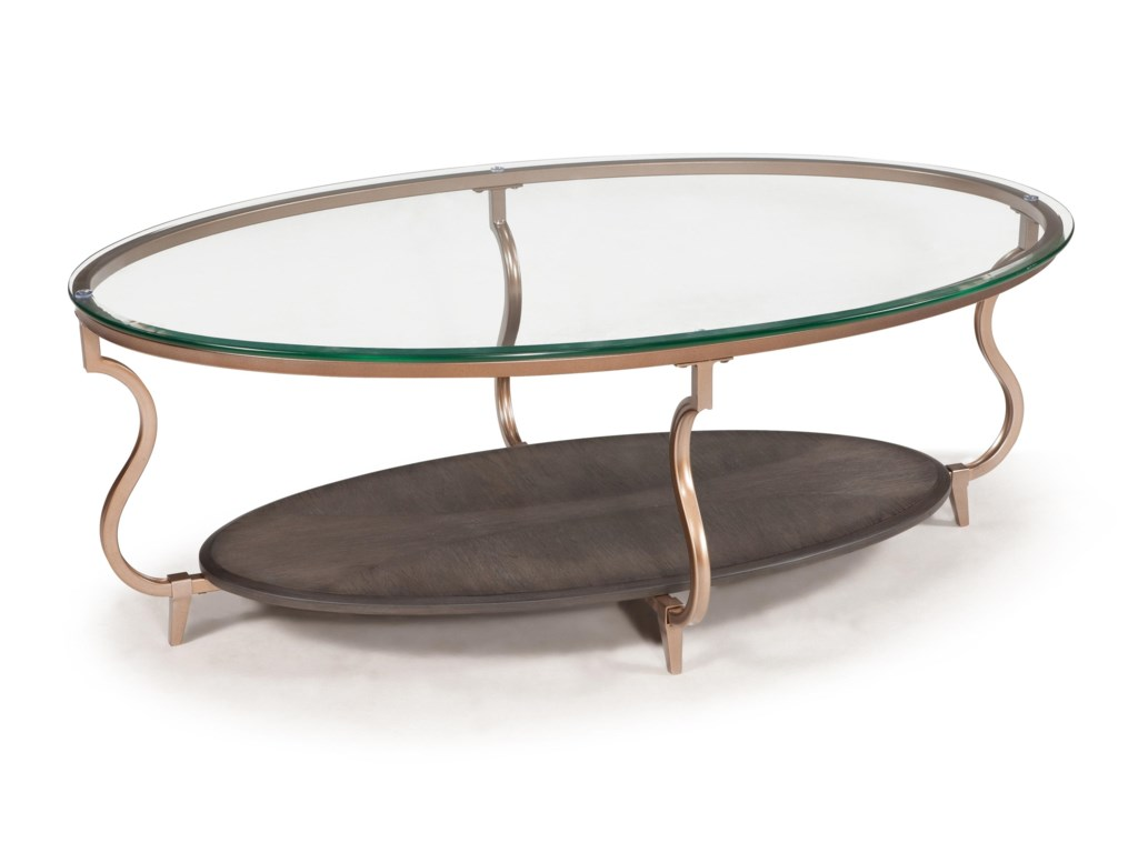 Transitional coffee table - Magnussen Home Rachel Transitional Oval Cocktail Table With Gold Finished Legs And Glass Top Olinde S Furniture Cocktail Or Coffee Table