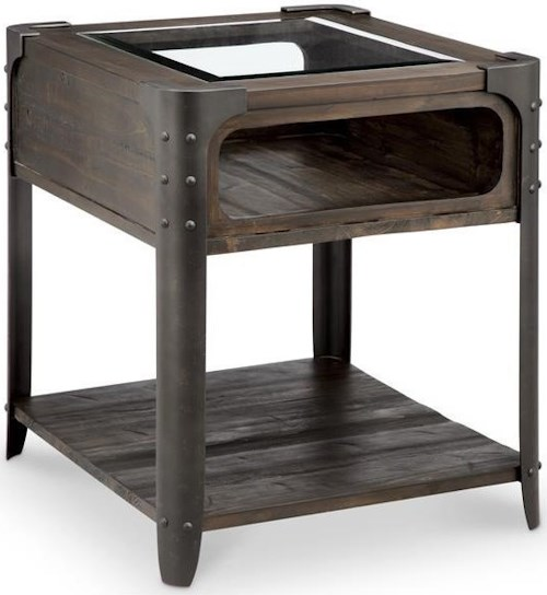 Magnussen home rydale rustic end table with glass top for Furniture 0 percent financing