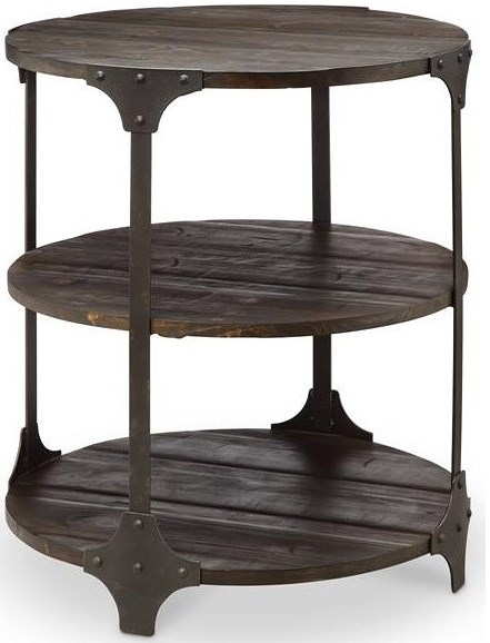 Magnussen Home Rydale Rustic Accent Table with Two Shelves