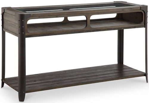 Magnussen Home Rydale Rustic Sofa Table with Shelf