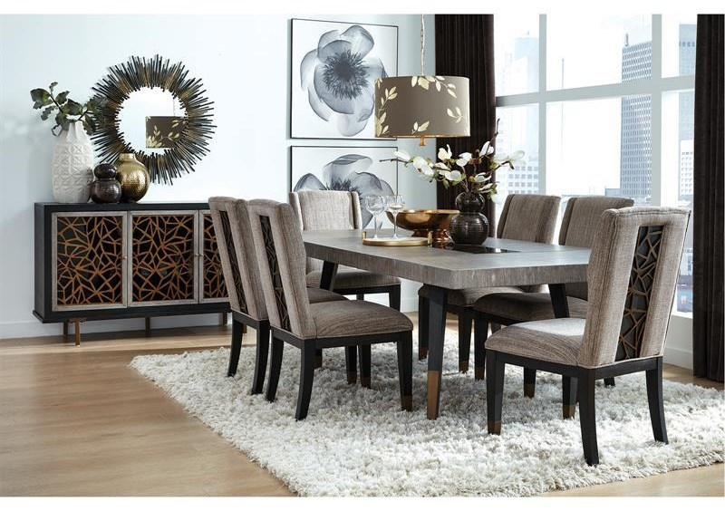 Picture of: Magnussen Home Ryker D5013 20 6×66 15 8 Piece Rectangular Dining Extension Table 6 Upholstered Side Chairs And Server Set Sam Levitz Furniture Dining 7 Or More Piece Sets