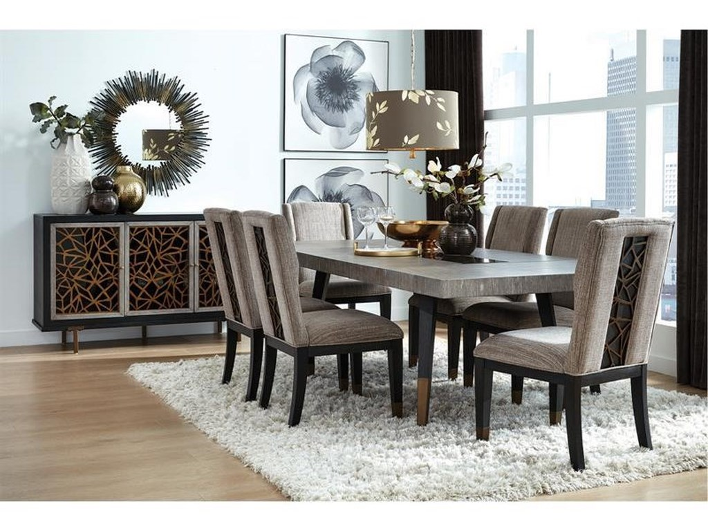 Magnussen Home Ryker D5013 20 6x66 15 8 Piece Rectangular Dining Extension Table 6 Upholstered Side Chairs And Server Set Sam Levitz Furniture Dining 7 Or More Piece Sets