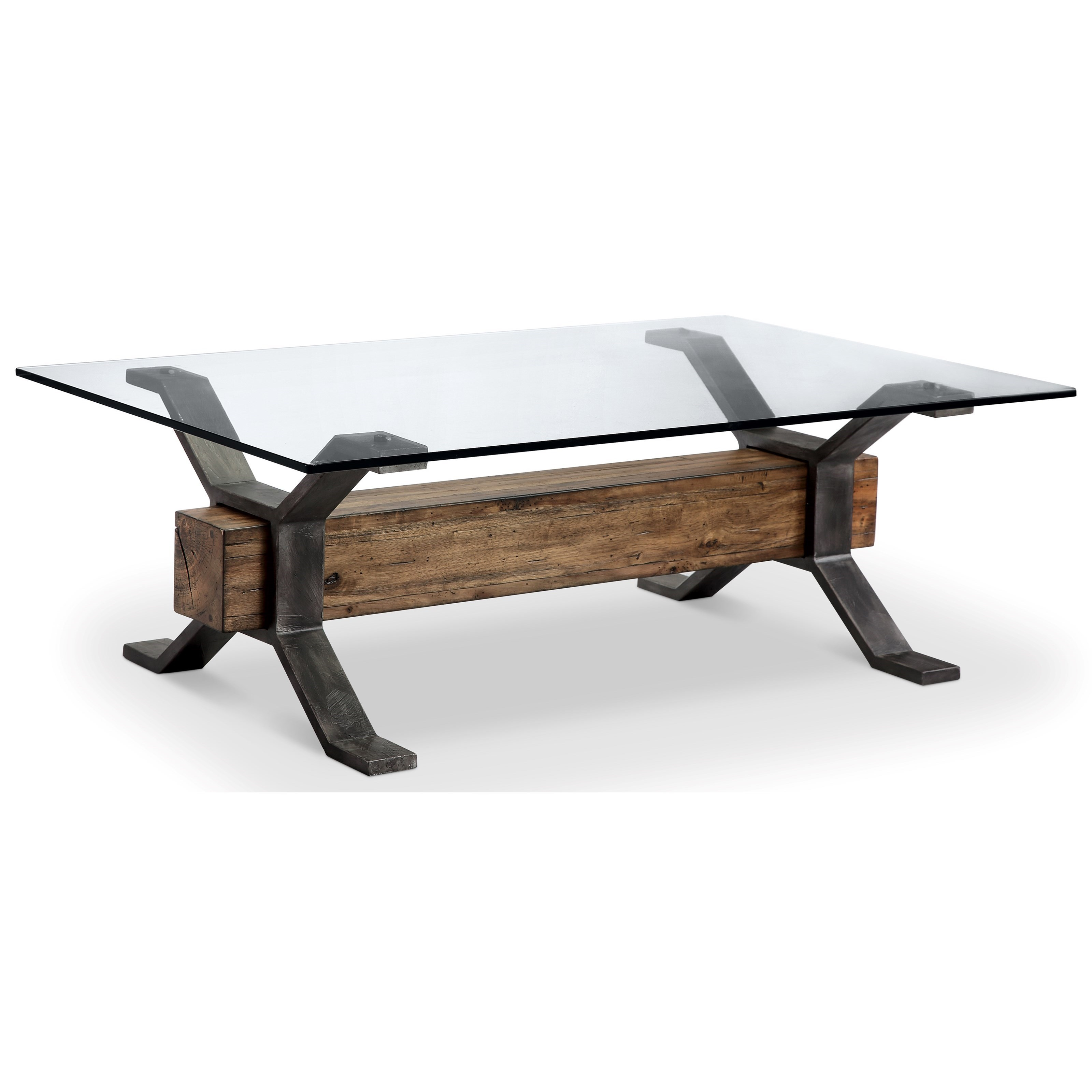 - Magnussen Home Sawyer MH Industrial Cocktail Table With Reclaimed