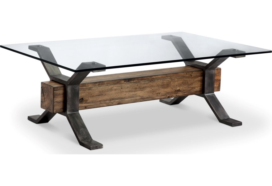 Magnussen Home Sawyer Mh Industrial Cocktail Table With Reclaimed