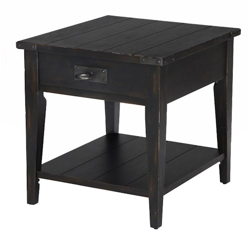 Belfort Select Sheffield Rustic End Table with One Drawer and One Shelf