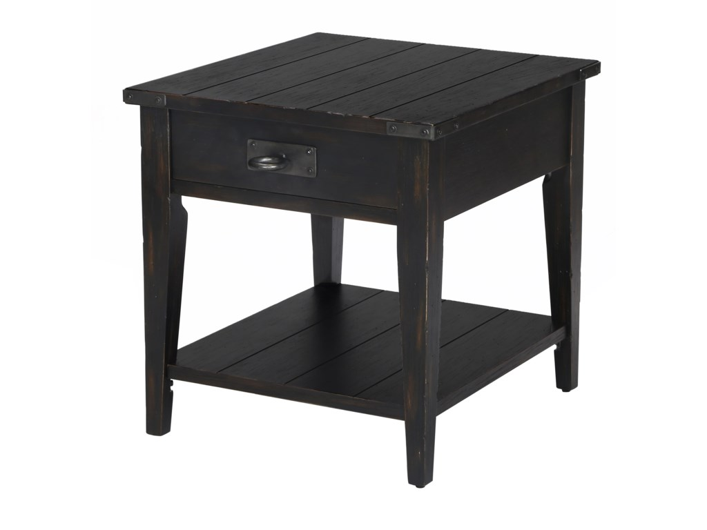 Sheffield rustic end table with one drawer and one shelf by magnussen home
