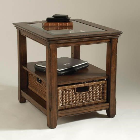 High Quality Magnussen Home Tanner Rectangular End Table With Wicker Basket