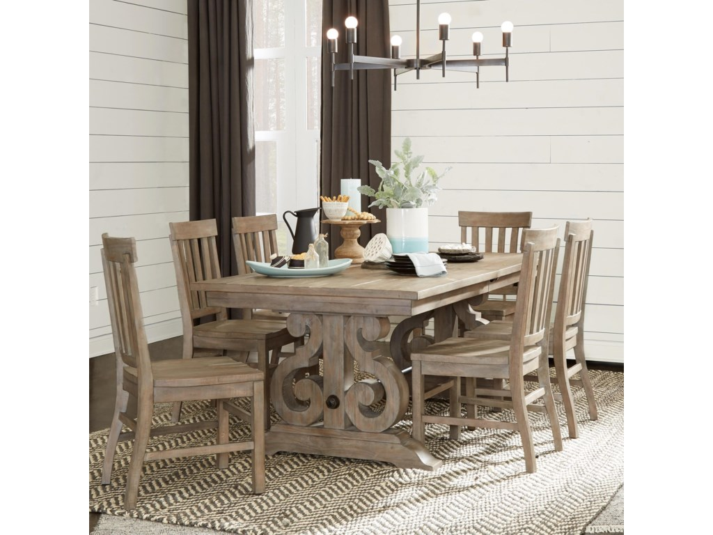 Tinley Park Relaxed Vintage Rectangular Dining Table With Metal Stretcher By Magnussen Home At Value City Furniture