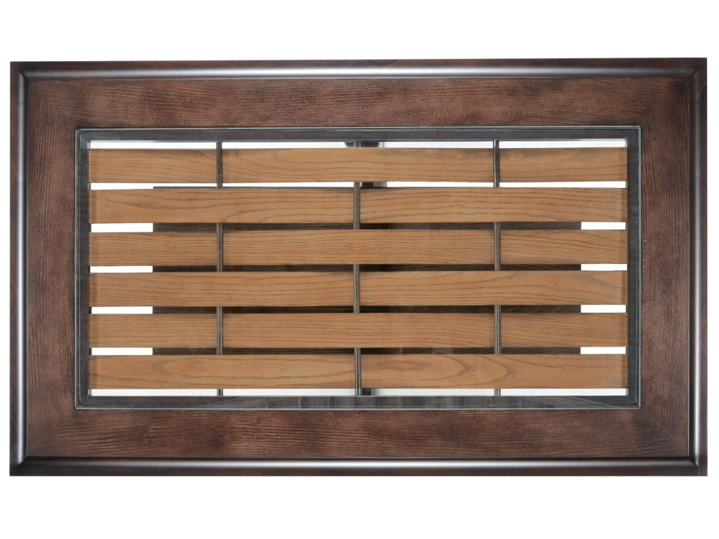 Cocktail Table Top with Glass Insert and Wooden Planks Woven Through Metal Bars