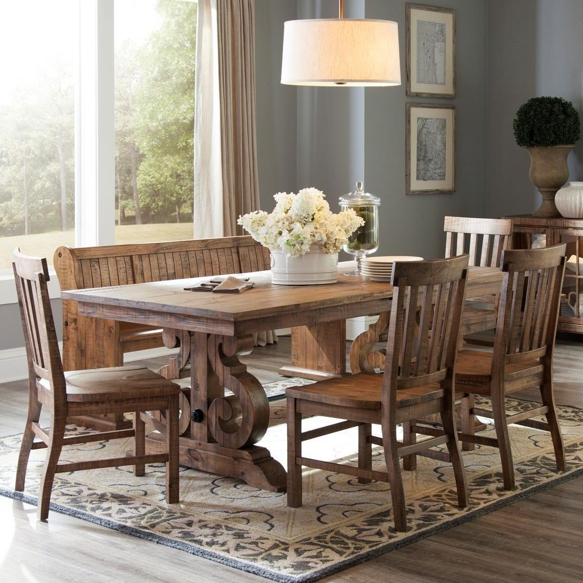 Magnussen Home Willoughby Solid Pine 6 Piece Table Set With Bench