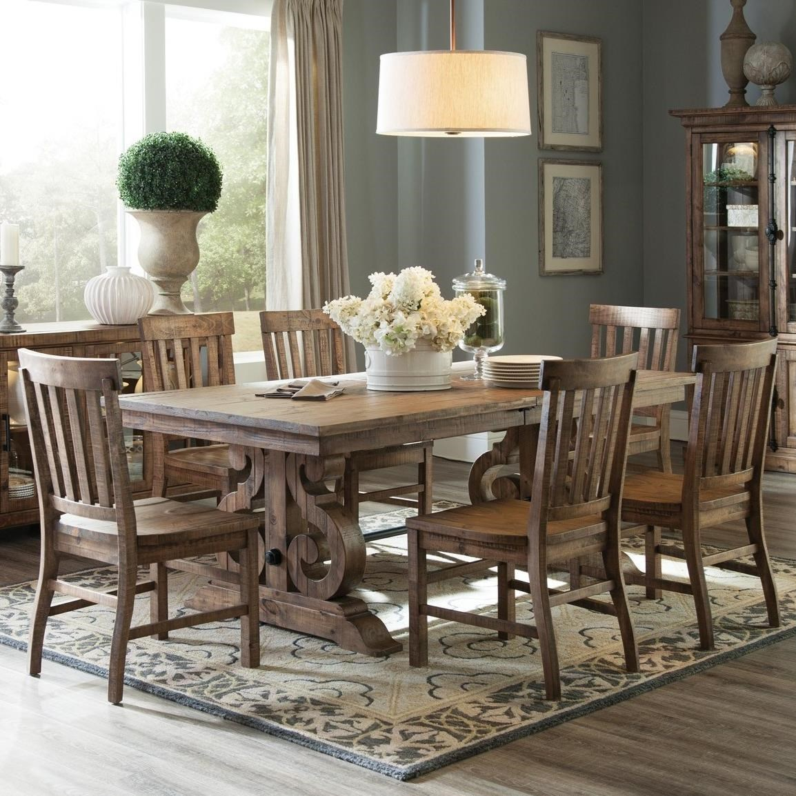 Magnussen Home Willoughby Solid Pine 7 Piece Rectangular Dining Table Set