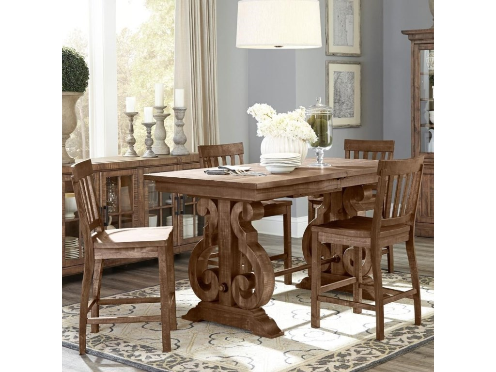 Magnussen Home Willoughby5-Piece Rectangular Counter Height Table Set