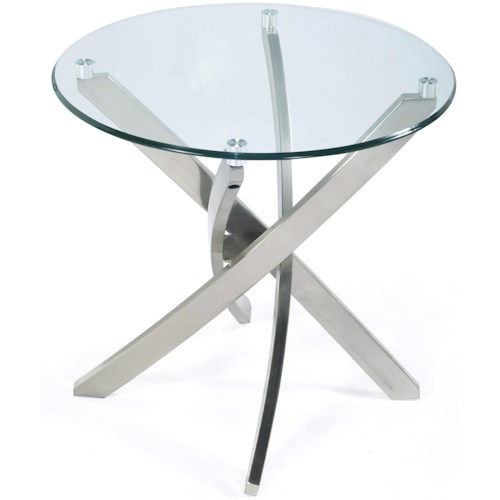 Magnussen Home Zila Round End Table with Strut Base and Tempered Glass Top