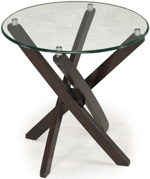 Magnussen Home Xenia Round End Table with Strut Base and Tempered Glass Top