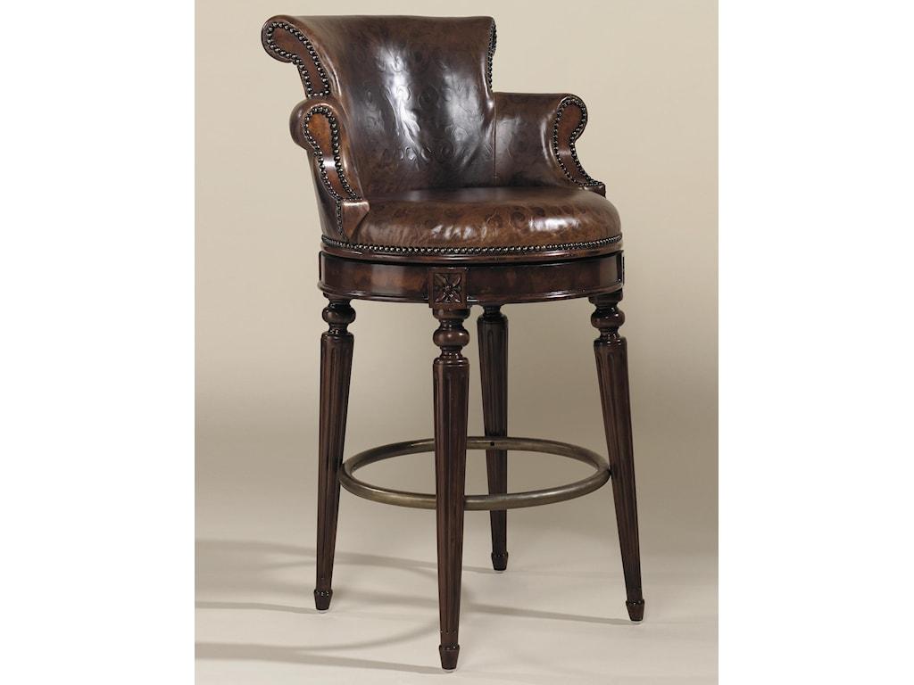 Bar Stools Aged Regency Finished Mahogany Swivel Barstool With Venetian Regal Leather Upholstery By Maitland Smith