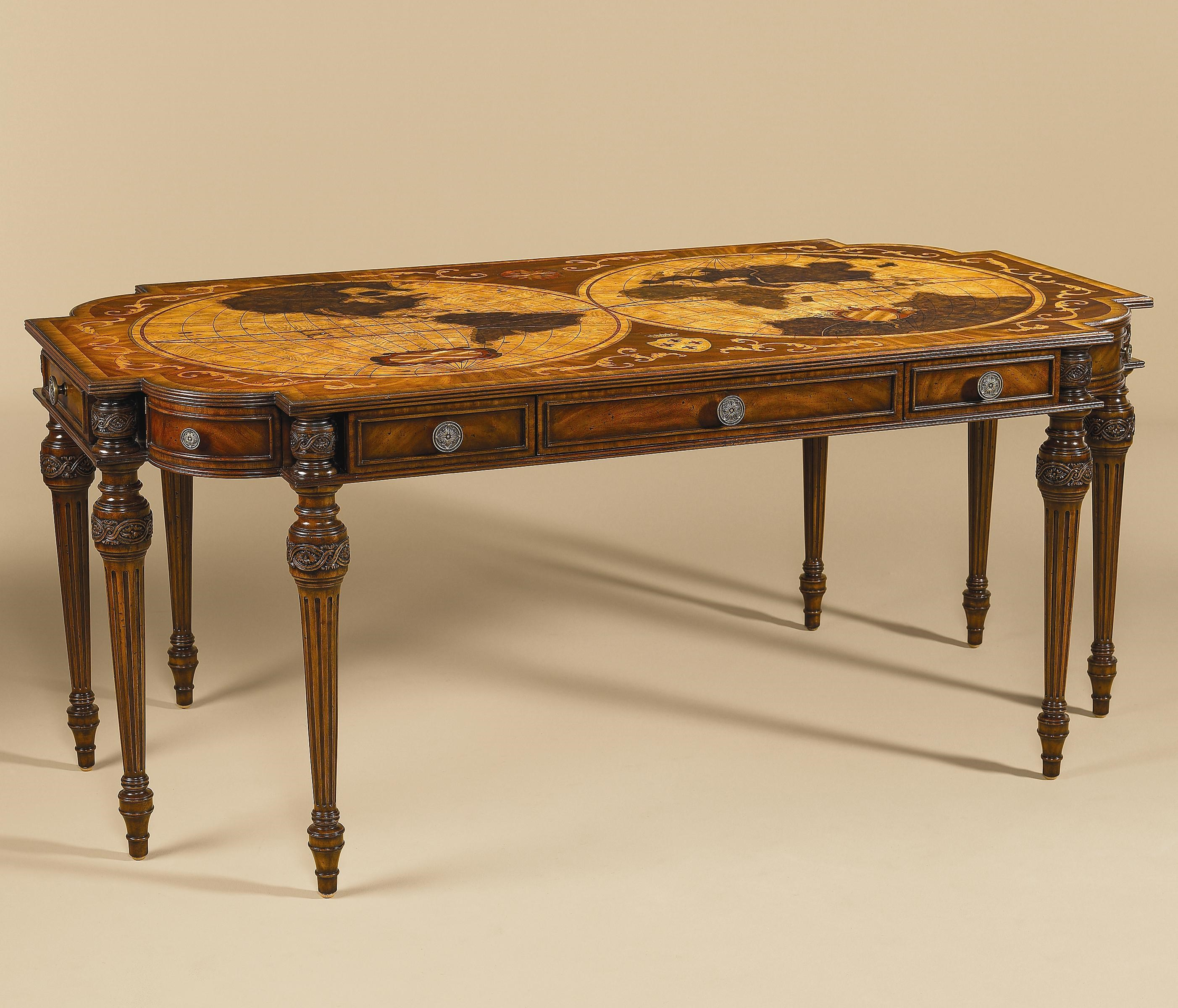 Merveilleux Maitland Smith DesksDesk W/ Intricate Inlaid Marquetry Top ...