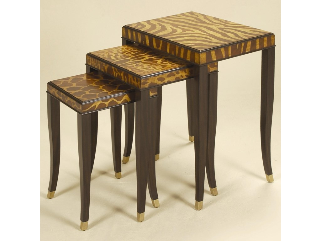 Maitland-Smith End TablesSet of Three Ebony Finished Nest of Tables