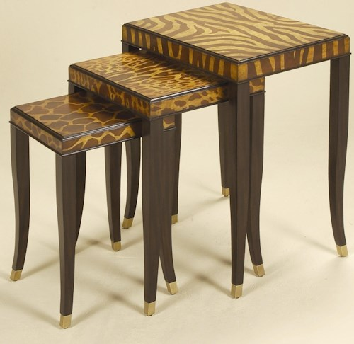 Maitland-Smith End Tables Set of Three Ebony Finished Nest of Tables ...