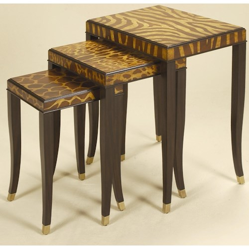 Maitland-Smith End Tables Set of Three Ebony Finished Nest of Tables with Marquetry Inlay in Animal Motif