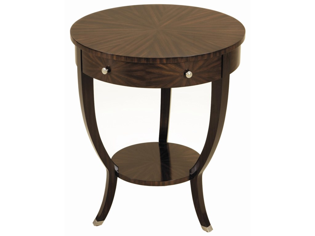 Maitland-Smith End TablesEbony Finished Zebrano Veneer Round Table