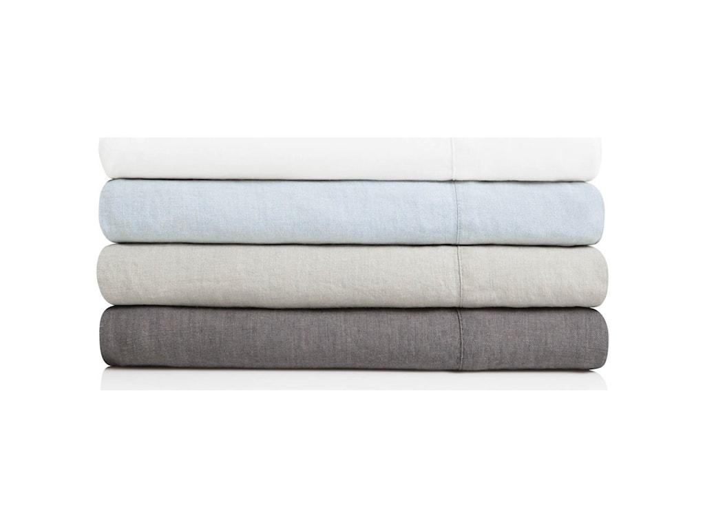 Malouf French Linen CharcoalQueen Sheet Set
