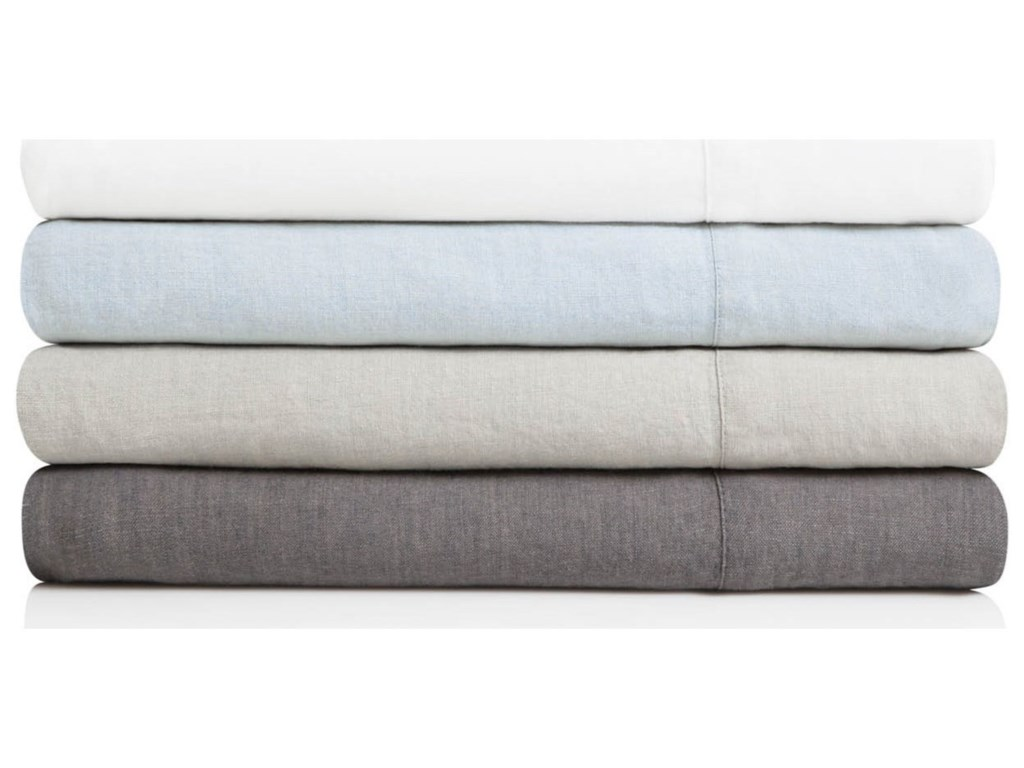 Malouf French Linen CharcoalSplit Cal King Sheet Set
