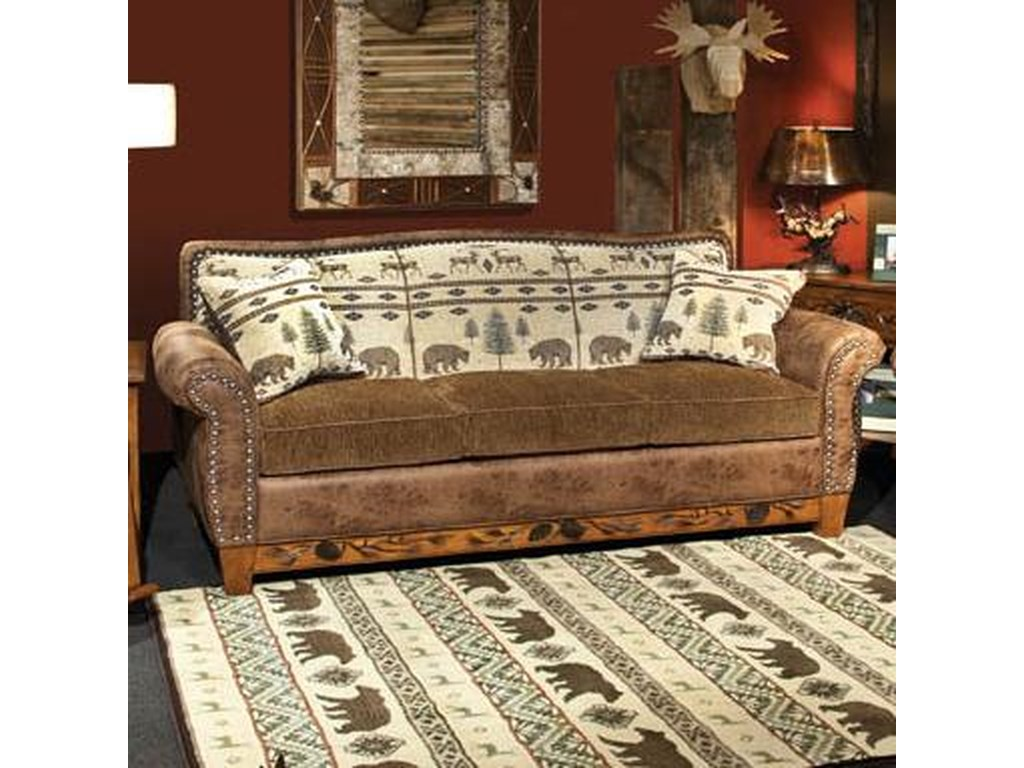 Marshfield Woodland Rustic Sofa With Nail Head Trim Conlin S