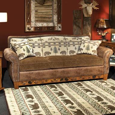 Marshfield Woodland Rustic Sofa With Nail Head Trim   Conlinu0027s Furniture    Sofa